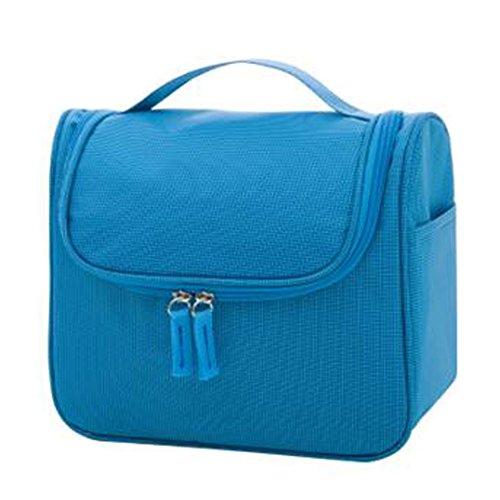 Portable sacs de maquillage de grande capacité sac cosmétique boîte de maquillage, Bleu