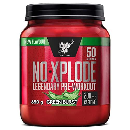 BSN N.O.-Xplode Pre-workout Powder, Suplemento Deportivo con Cafeína, Aminoácidos, Vitamina C y Zinc, Green Burst, 50 Porciones, 650 g, Embalaje Puede Variar