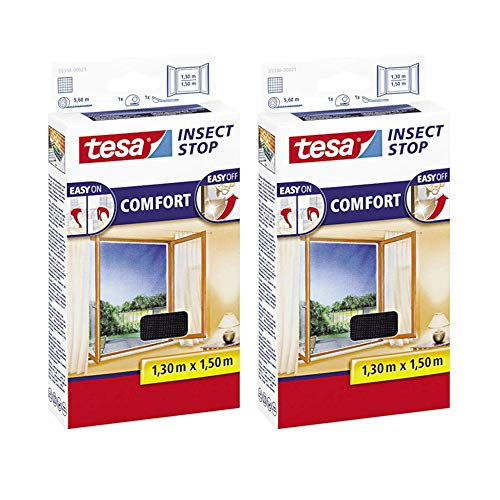 tesa Insect Stop Comfort Fliegengitter Fenster - Insektenschutz mit Klettband selbstklebend - Fliegen Netz ohne Bohren (2er Pack /130 cm x 150 cm, Anthrazit (Durchsichtig))