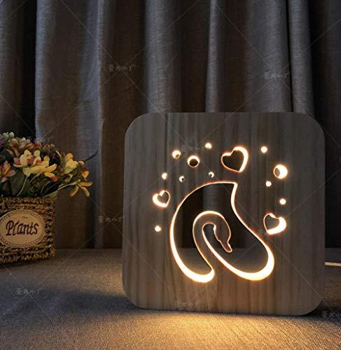 Nachtlampje 3D hout LED nachtlampje usb aangedreven bureaulamp huis slaapkamer woonkamer nachtkastje decoratieve lamp Gecko houten lamp