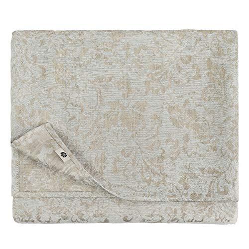 Linen & Cotton Nappe de Luxe Damassée Cervo, 100% Lin - 147 x 300cm (Bleu Clair/Beige - Design Floral)