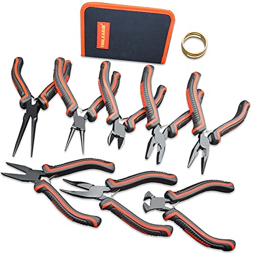 TOOLEAGUE Jewelry Pliers, 8 Pcs Jewelry Making Kit, Needle Nose Pliers for Jewelry Making, Mini Pliers,Precision Pliers for Crafts DIY Work Tools