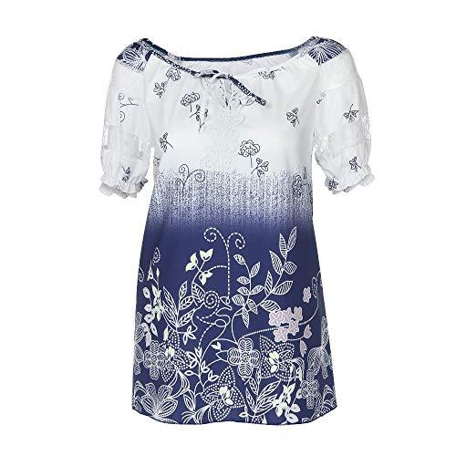 TOFOTL 2020 Blusenshirt Damen Kurzarm, Frauen Kurzarm V-Ausschnitt Spitze Bedruckte Spitze Tops Loose T-Shirt Bluse Tops