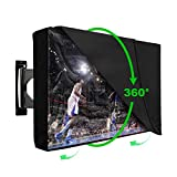 Outdoor TV Cover 52-55 Inches with Scratch Resistant Clear Screen Protector, Bottom Seal, 600D Oxford Weatherproof Dust Resistant Fits Most flat TV Mounts Stand with Remote Controller Storage Pocket