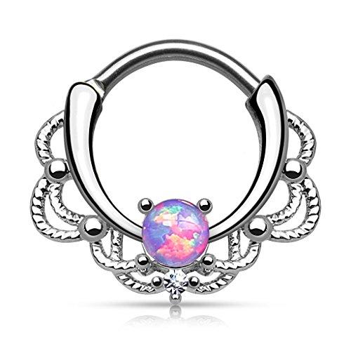 Gekko Body Jewellery Lacey Single Purple Opal Septum Clicker Nose Ring...
