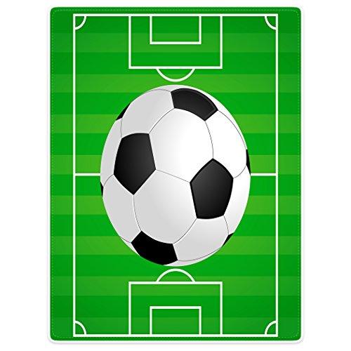 YISUMEI Decke 125x150 cm Kuscheldecken Sanft Flanell Weich Fleecedecke Bettüberwurf Fußball Grün Fußballplatz