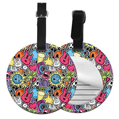 Juego de etiquetas de equipaje de piel con diseño de dibujos animados para fiesta de música kawaii Negro Negro 2 PC