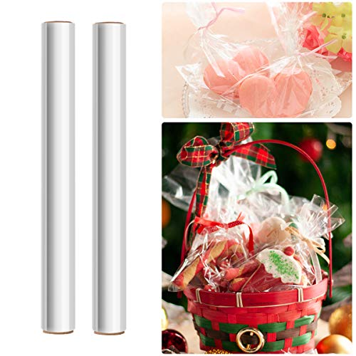 STOBOK 2 Rolls Clear Cellophane Wrap Roll   Width 15.7 inches Length 100Ft 2.5 Mil Thick,Transparent Flowers Baskets Food Gift Crystal Wrappings Paper Food Safe Packing Paper