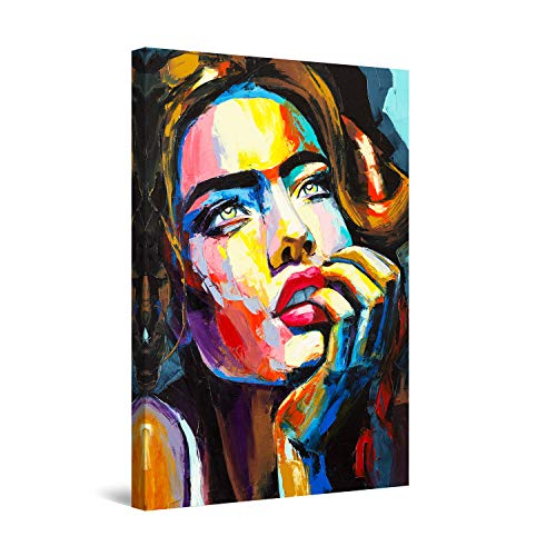 Startonight Cuadro Moderno en Lienzo - Contemplación de Mujer de Colores - Pintura Abstracta para Salon Decoración Grande 80 x 120 cm