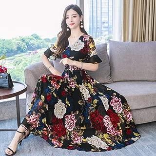 ABDKJAHSDK Summer New High Quality Elegant Flower Print V-Neck Ladies Chiffon Dress