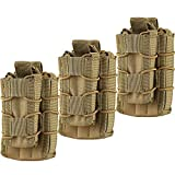 HOANAN Double Mag Pouch, Tactical Molle Magazine Pouch Open-Top Single Rifle Pistol Mag Pouch Cartridge Clip Pouch Hunting Bag (3pack-Upgrade Brown)