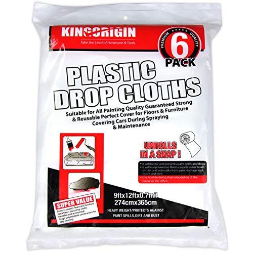 30//Case 4 Case Poly-America 9 X 12 Clear 0.7 mil Polyethylene Husky Plastic Drop Cloth