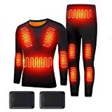 EWYI Upgrade Heating Underwear Set Washable for Women, USB Electric Heated Thermal Long Sleeve T Shirts or Pants Suit-XL