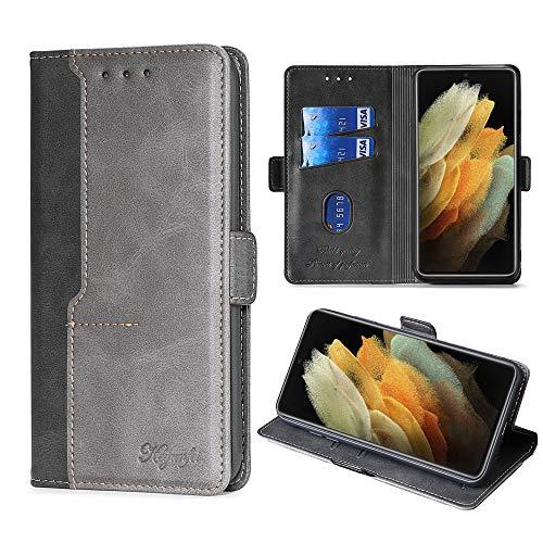 FiiMoo Handyhülle Kompatibel mit Samsung Galaxy S21 Ultra 5G, [Weicher TPU] [Kartenfach][Magnetverschluss] PU Leder Tasche Flip Wallet Hülle Schutzhülle Hülle für Galaxy S21 Ultra 5G -Schwarz