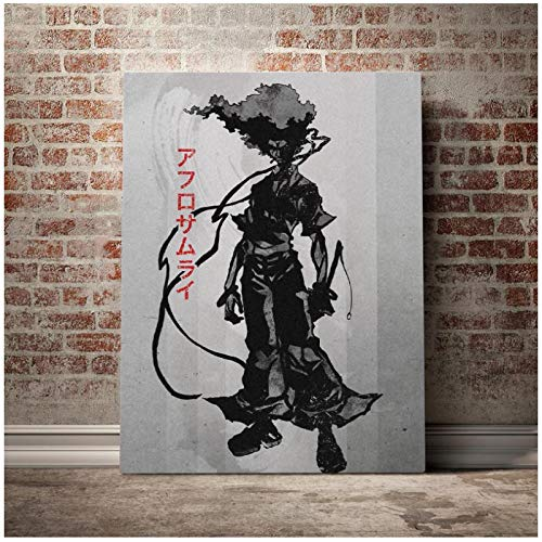 HJZBJZ Póster Afro Samurai, Lienzo, Arte de Pared, Impresiones de decoración para Vivir, Chico, habitación de niños, hogar, Dormitorio, decoración, Pintura -20x28 Pulgadas sin Marco