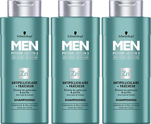 Schwarzkopf Men Power Action 3 anti-roos shampoo + frees met pellicules 250 ml - 3-pack (3 x 250 ml)