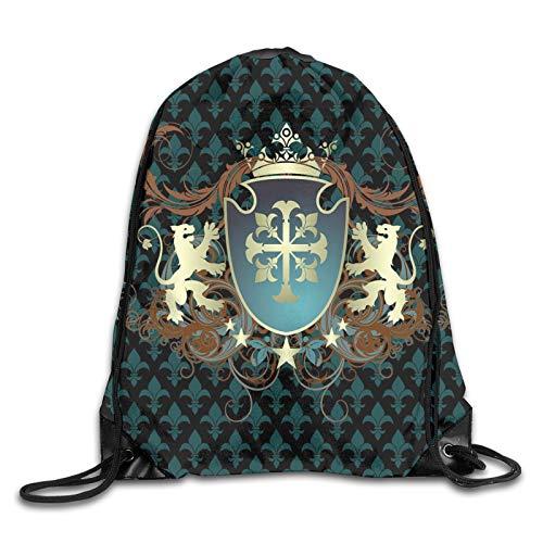 Bolsa con cordón para gimnasio, diseño heráldico de la edad media, escudo de armas, corona de leones y remolinos, mochila con cordón para la boca de gimnasio, mochila de hombro para hombres y mujeres