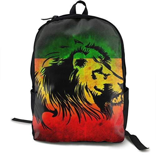 Bolsas de Gimnasia, Reggae Rasta Flag Lion Black Backpck, Large Capacity Shoulder Bag Travel and Sport Backpack Rucksack, College School Bookbag Casual Daypack Climbing Shoulder Bag Laptop Backpack
