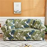 YHNMK Funda de sofá Tejido elástico de Alta Elasticidad, extraíble, Lavable, Color Exquisito, Hoja, poliéster, Spandex, Protector de Muebles Impreso con 1 Funda de Almohada