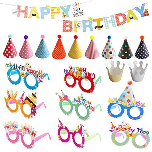 Chingde Party Banner Geburtstag, Kinder Geburtstag Banner, Geburtstag Brille, Partyhüte Kinder, Geburtstag Dekoration Set für Kinder Geburtstag Party Dekoration Versorgung