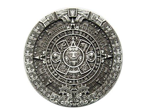 Schnalle123 Gürtelschnalle Azteken Maya Maja Kalender 3D Optik für Wechselgürtel Gürtel Schnalle Buckle Modell 102