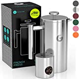 Coffee Gator French Press Coffee Maker - Thermal Insulated Brewer Plus Travel Jar - Large Capacity, Double Wall Stainless Steel - 34oz - Silver