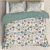 Funda nórdica de cama de tres piezas retro Composición geométrica minimalista con círculos Triángulos y líneas 80s 90s Style 3Pcs Funda nórdica con cierre de cremallera Multicolor California King Size