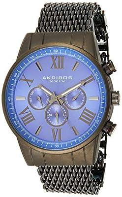 Akribos XXIV Hombres de la empresa automático swiss reloj de cuarzo con correa de acero inoxidable