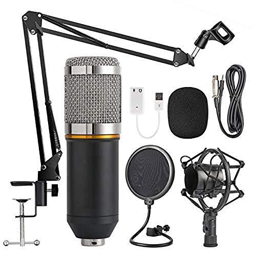 EDAHBJNEST5MK Microfono a Condensatore Kit di Microfono BM-800 Stand Asta di Sospensione Braccio a Forbici con Supporto Anti-Vibrazione, per Computer Desktop Laptop Mac o Windows Microfono (Silver)