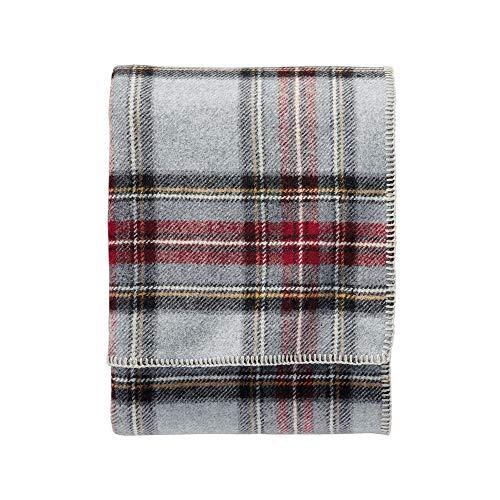 Made in America Easy Care 100% Wool Blanket, Grey Tartan Design