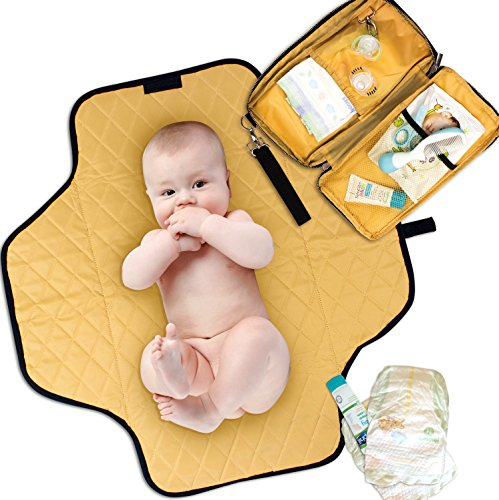 Portable Changing Pad Diaper Clutch Waterproof – Lightweight Padded Travel Mat – Compact Size Doubles as Car, Diaper Bag, and Stroller Organizer – Great for New Parents and Baby Shower Gifts