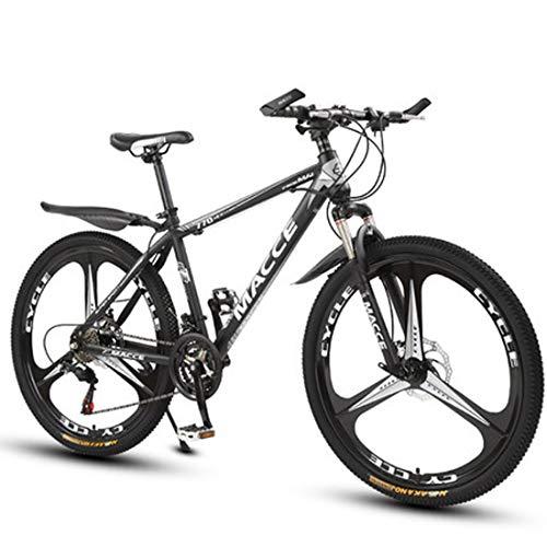 GL SUIT Fahrrad Mountainbike für Erwachsene Unisex, 24-Gang-Doppelscheibenbremsen leichte Carbon Stahlrahmen Stoßdämpfung Hard Tail Dirt Bike,Schwarz,26 inches
