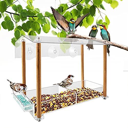YAOLUU Comedero Exterior para Pájaros Ventana Clara Alimentador de Aves con ventosas Fuertes Birdhouses para Patio Exterior Decoración de jardín Alimentador de pájaros Colgantes para pájaros