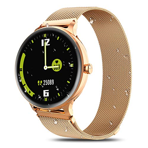 IOWODO X2 Smart Watch,Fitness Tracker with Heart Rate Monitor Watches for Men Women Bluetooth Activity Tracker IP68 Waterproof Smartwatch Compatible with iPhone Samsung Android Phones Gold