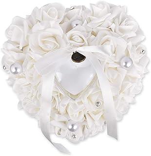 SCSpecial Anillo de bodas Ceremonia de almohada En forma de corazón Portador de anillo Cuña Cojín Anillo Titular de la caja Accesorios para bodas románticas - Blanco
