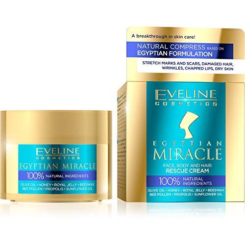Eveline Cosmetics Egyptian Miracle Creme - Gesicht, Körper und Haar Hilfe   40ml   Natürliche Inhaltsstoffe   Umfassende Pflege   Universalprodukt