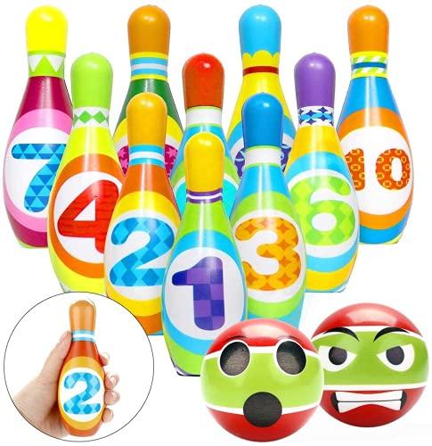 Joyibay Bowling Set Kinder, Kegelspiel für Kinder mit 10 Kegel und 2 Bälle Bowling Set PU Mini Kegelspiel Drinnen Draußen Spielzeug Spiele ab 3 Jahren Junge Mädchen