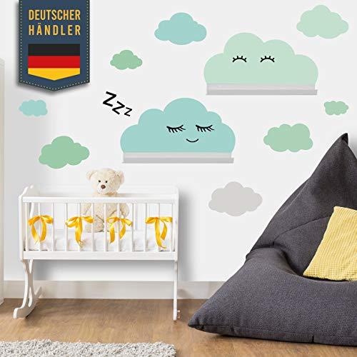 Wolken Wandtattoo Set passend für IKEA RIBBA/MOSSLANDA Bilderleisten - Rauhfaser, Babyzimmer Tapete Sticker zum Kleben, Wanddeko Dekoration – Wandfolie für Kleinkinder, Jungs, Mädchen in Türkis