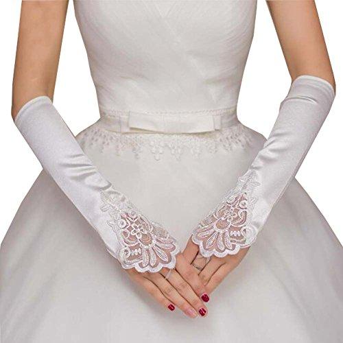 Gants de dentelle en satin Gants de mariage sans doigts Gants de dentelle en dentelle