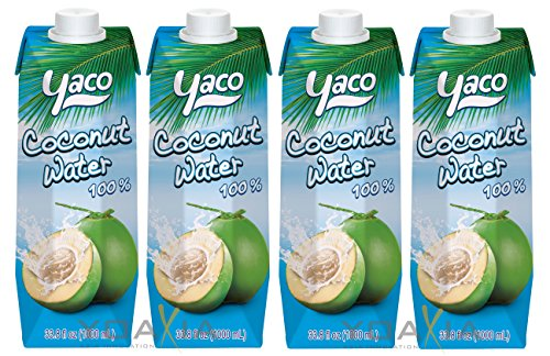 [ 4x 1 Liter ] YACO Kokosnusswasser 100% / Kokoswasser Coconut Water 100% Natural + ein kleines Glückspüppchen - Holzpüppchen