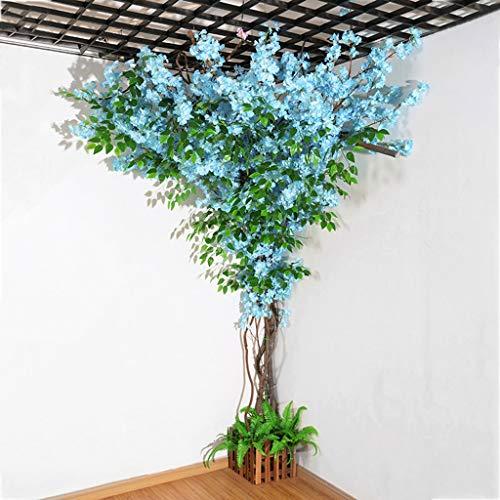 ZNKZJ Fiore Artificiale Fiore di ciliegio, Fiori di Vite Finti, Simulazione di Fiori di Sakura in Seta con Ramo di Banyan per la Decorazione della Parete della Cerimonia di Nozze,Blue