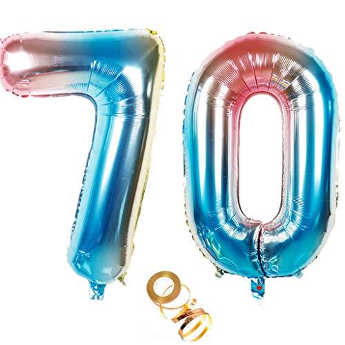 Globos de 100 cm con el número 70 en arco iris para niñas y niños, decoración de cumpleaños número 70, globos de helio con números, tamaño XXL, 100 cm, para bodas, fiestas de cumpleaños