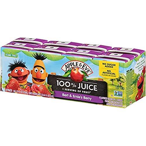 Apple & Eve Sesame Street Bert and Ernie's Berry Juice, 4.23 Fluid-oz, 8 Count, Pack of 5