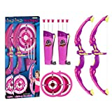 Fstop Labs 2 Pack Archery Bow and Arrow for Kids Set with LED Flashing Lights, Pink Light Up Function, Arrow Holder Target and Quiver Hunting Series for Boys and Girls Indoor and Outdoor Toys