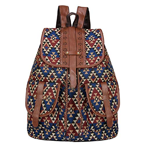 KunmniZ Vintage Print Canvas Ethnic Backpack for Women Girls School Backpacks Drawstring Bohemia Travel Rucksack