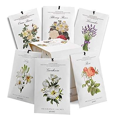 MYARO 12 Packs Scented Sachets for Drawer and Closet, Long-Lasting Sachets Bags Home Fragrance Sachet 6 Scents Option- Lavender, Rose, Jasmine, Ocean, Gardenia, Lily…