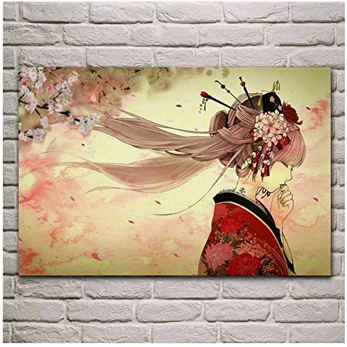 Hatsune Miku Art Kimono Yache Girl Sakura Tattoo Spring Flower Living Room Home Wall Modern Art Decor Gift Artwork Poster -60X80Cm Sin marco