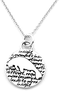 Animals Inspirations Quote Pendant Necklace (Manatee)