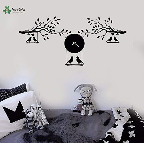 Vinyl muur sticker vogel verliefd op boom swing tak klok interieur woonkamer woondecoratie 50X109CM