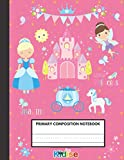 Primary Composition Notebook: Funny Little Cinderella Princess Pink Background | Writing and Drawing Book for Girls | Dotted Midline and picture of ... Gift | Kawaii ABC Handwriting Practice Note